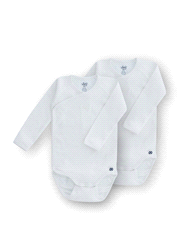 """999-1-RCL-R/100   Woody Basic set v 2 rompers, L/M, """"naissance"""", wit"""